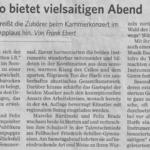 Konzertkritik zum Kammermusikkonzert in der Fellbacher Zeitung (28.10.2013)