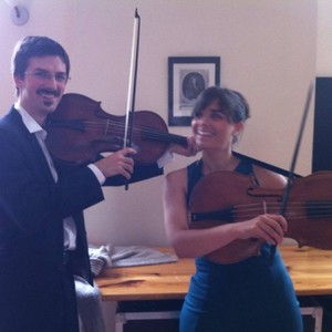 Dávid and Franciska try out instruments of the french violin family