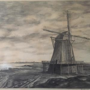 1759 wurde in Munkmarsch eine Mühle gebaut, die bis 1921 bestand.   Vorn am Ufer ist auch die kleine Werkstatt der Munkmarscher Werft zu erkennen (Kohlegemälde von Anton Schmidt)