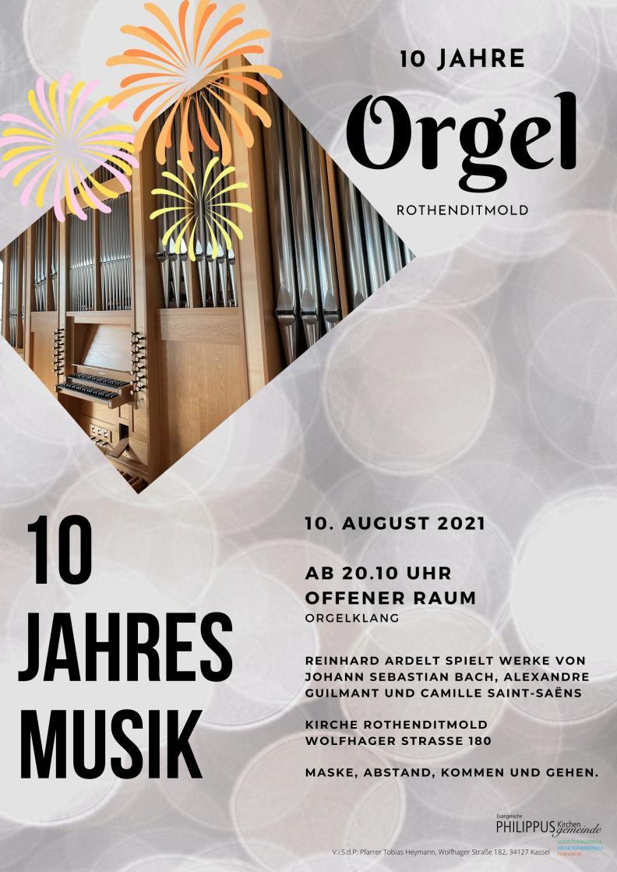 Plakat Orgeljubiläum Ardelt August 2021